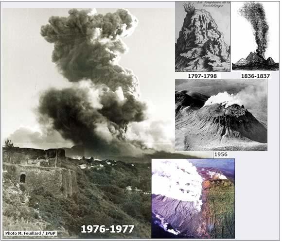 Photos des diverses éruptions phréatiques historiques de la soufrière